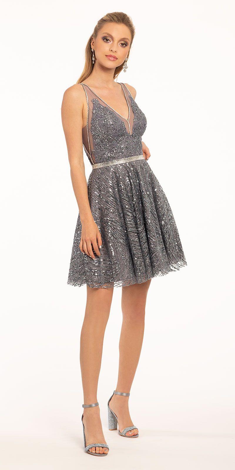 Short Stone Illusion Plunge Glitter Dress Short Cocktail Dress Chic Cocktail Dress Cocktail Dress Lace [ 1600 x 800 Pixel ]