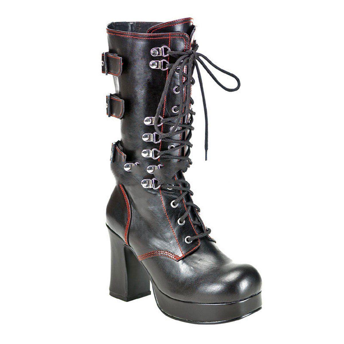 Demonia Slush-249 - sexy Gothic Industrial Plateau Stiefel Schuhe 36-45, Größe:EU-38 / US-8 / UK-5
