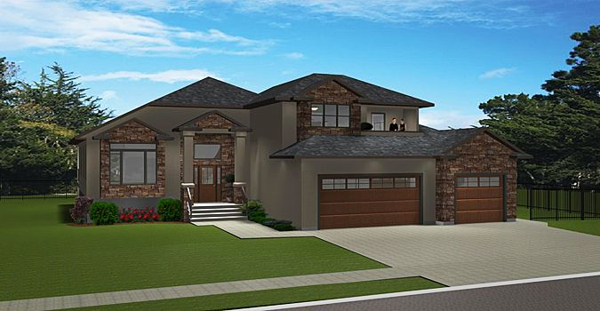 House Plan 2015850 Modified Bi Level With Deck Off Master Bedroom By Edesignsplans Ca High Covered Entrance With Pil House Plans Bi Level Homes Floor Plans