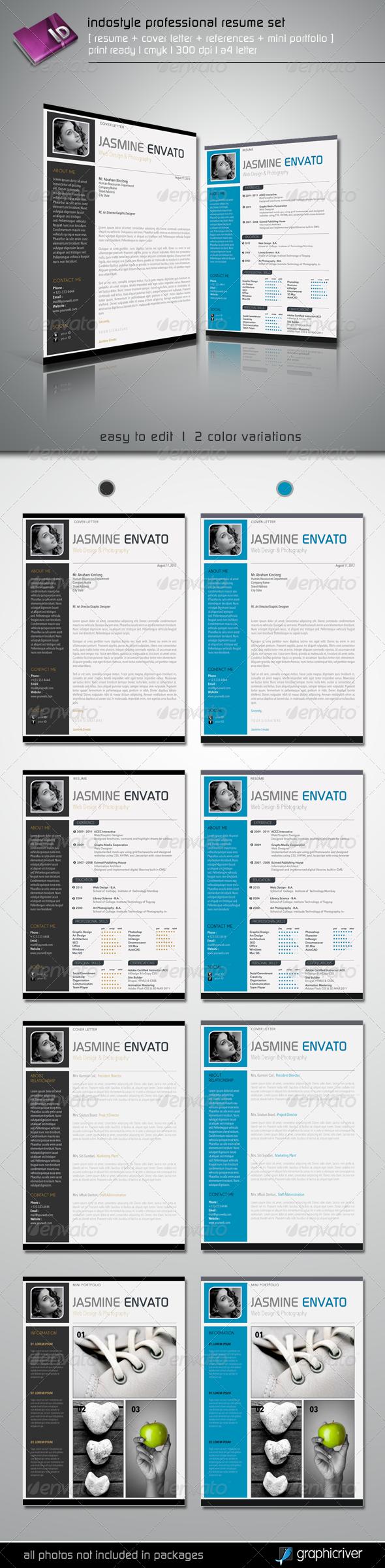 Indostyle Professional Resume Set | Professional resume, Design ...