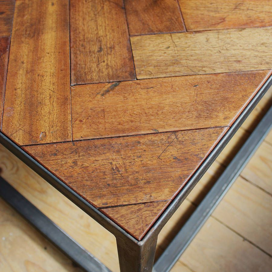 Parquet Steel Coffee Table: Large Upcycled Parquet Floor Coffee Table