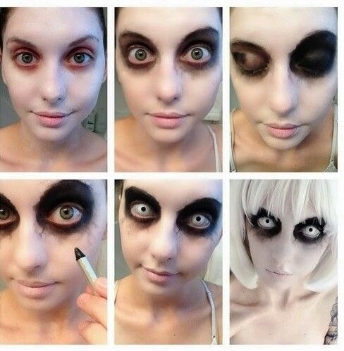 Easy Make up for Halloween You need : white color, black eyeshadow, black kajal and if you want contact lenses and s white wig And you're ready for Halloween!