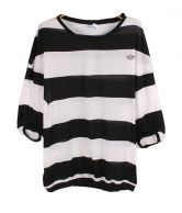 Striped Round Neck Short Bat Sleeve Loose T Shirt $30.00