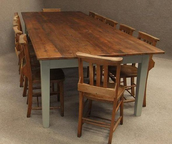 Large Rustic Pine Kitchen Table Dining Table In Kitchen Rustic