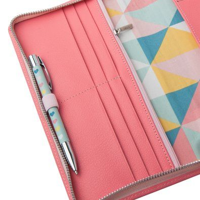 Leather Travel Wallet w Zip: Coral, $59.95