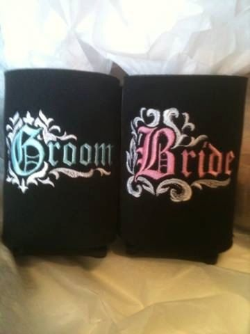 Embroidered Personalized  Damask Bride and Groom Koozie Set $14.98