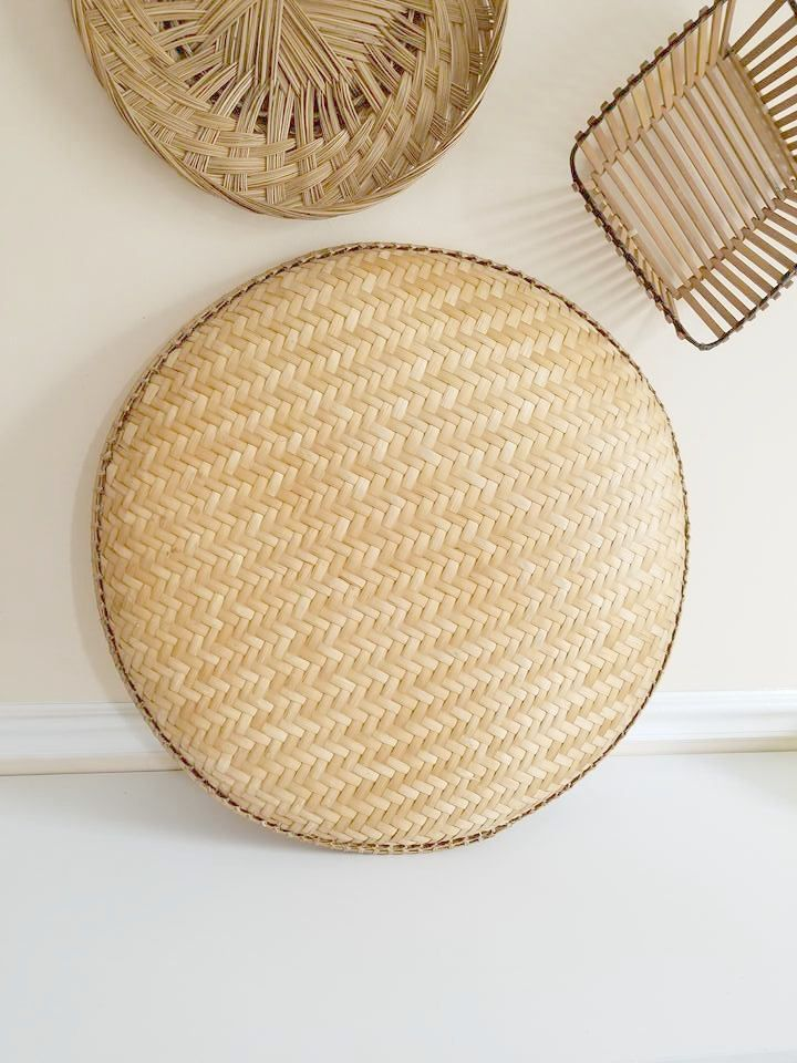 Vintage Bamboo Bowl, Hand Woven BASKET BOWL, 22\