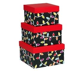 NESTED 3 pc.Merry & Bright Chalkboard Stacking Boxes