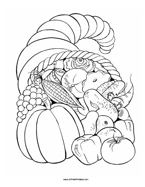 Free Printable Thanksgiving Fruit Basket Coloring Page