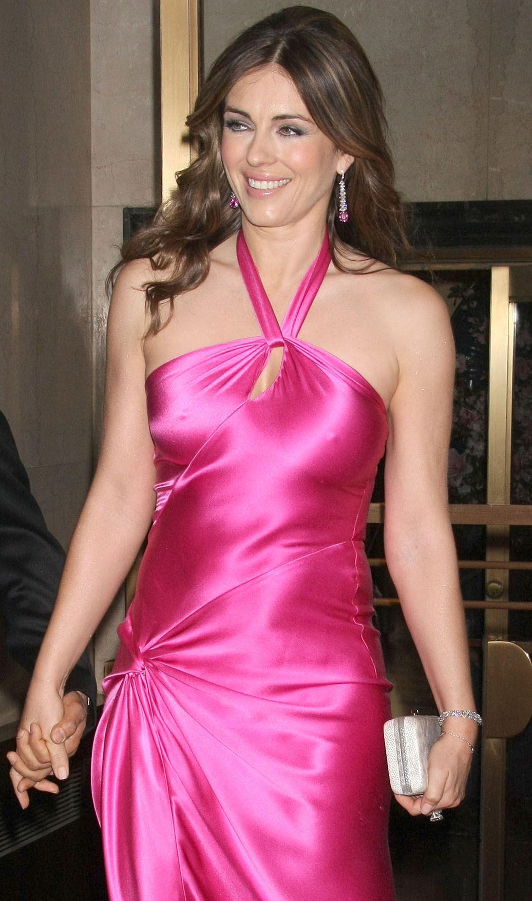 Elizabeth Hurley - pokies in a pink tight dress | dresses ...