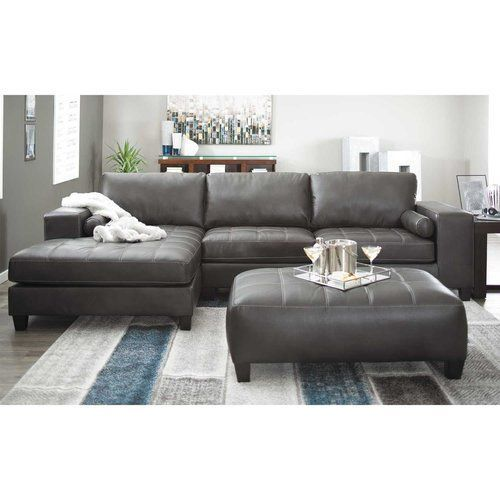 Ashley Furniture Charcoal 2 Pc Sectional Sofa 0187701 Leather