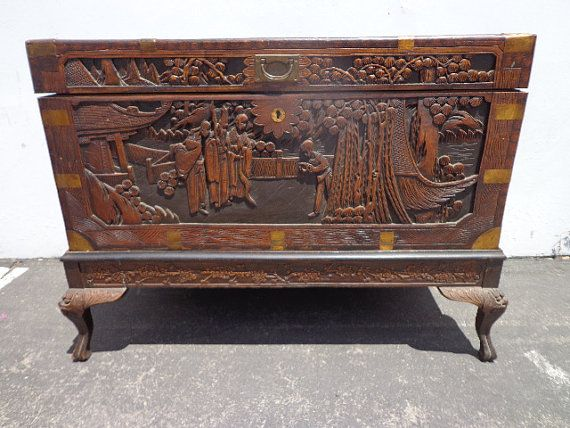 Asian inspired chinoiserie trunk coffee table hope chest for Asian trunk coffee table