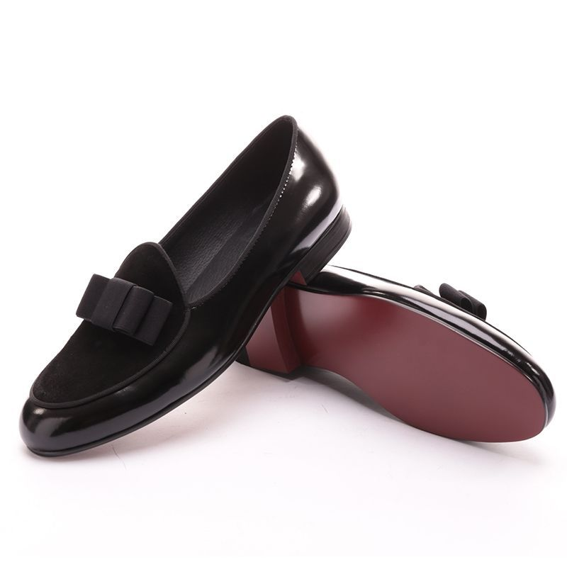 c353efc4e7 Men RESSO+ROTH Black Velvet Slippers Slip-on Loafers Shoes With Bow Tie  #RessoRoth #LoafersSlipOns