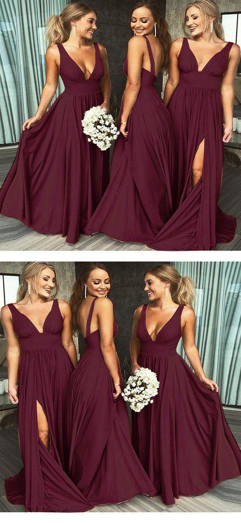 360c78ba8c61 Sexy V-Neck Sleeveless Burgundy Chiffon Long Bridesmaid Dresses,VPWG28 –  VeryProm