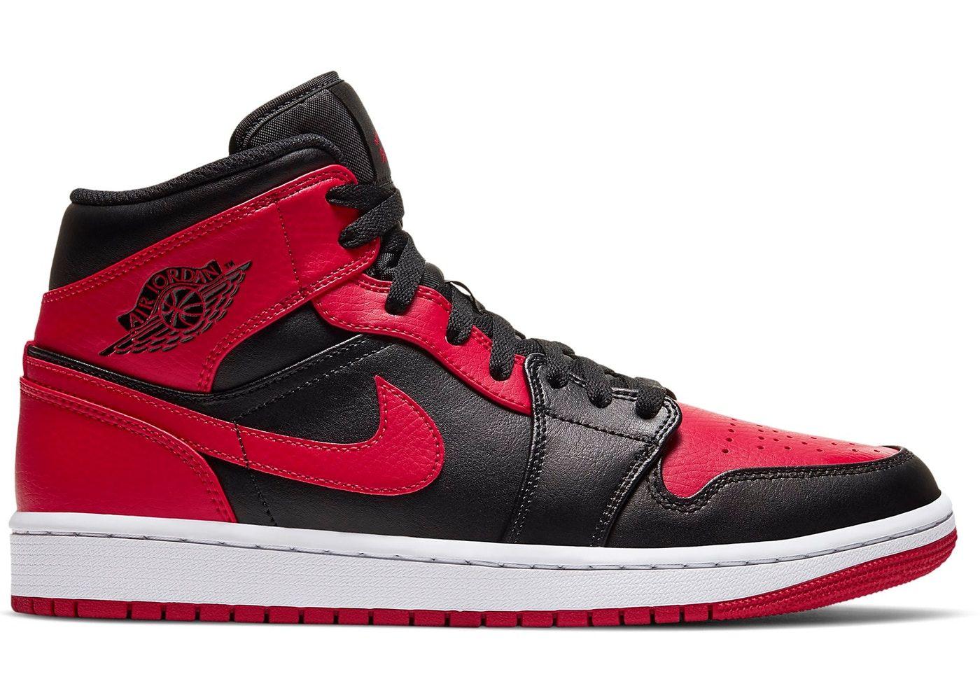 Jordan 1 Mid Banned 2020 In 2021 Air Jordans Red Sneakers Jordan 1 Mid
