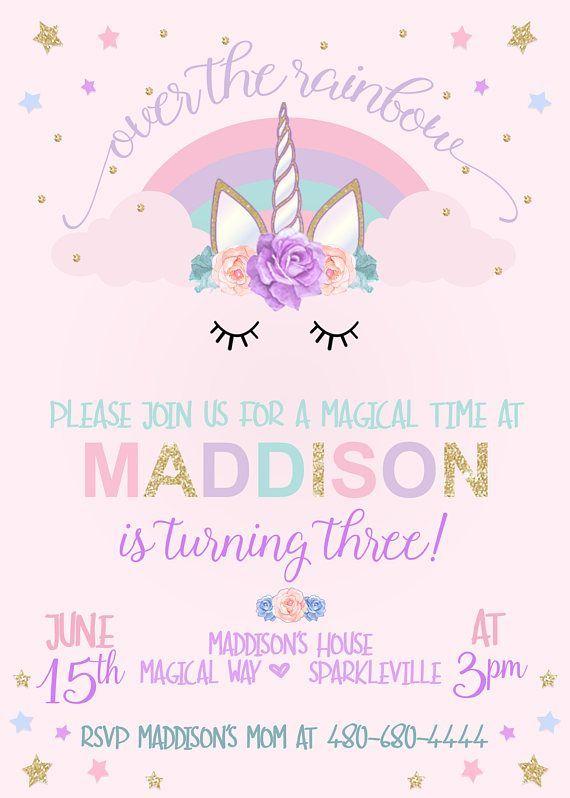 unicorn birthday invitation unicorn party invitation rainbow