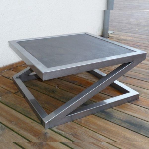 Table Beton Et Metal Belle Et Minerale Avec Images Table Basse