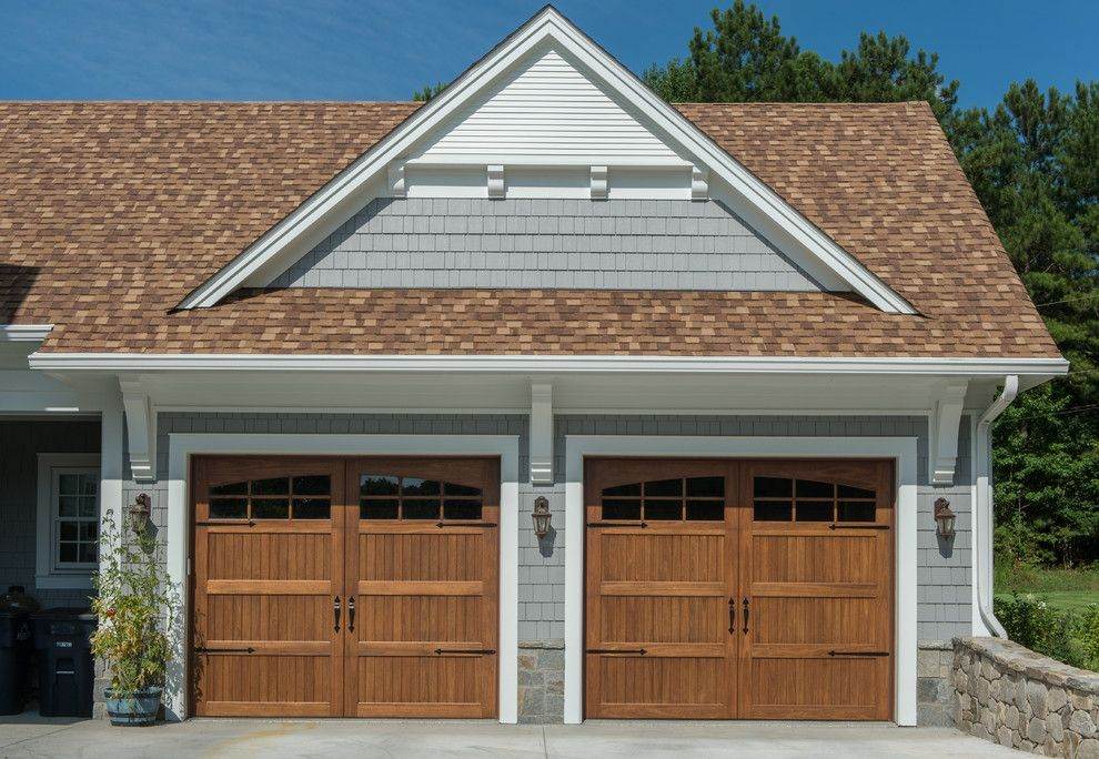 White House Brown Roof Garage Traditional With Glass Garage Door Eucalyptus Garage Doors Brown Roof Houses House Paint Exterior Brown Roofs