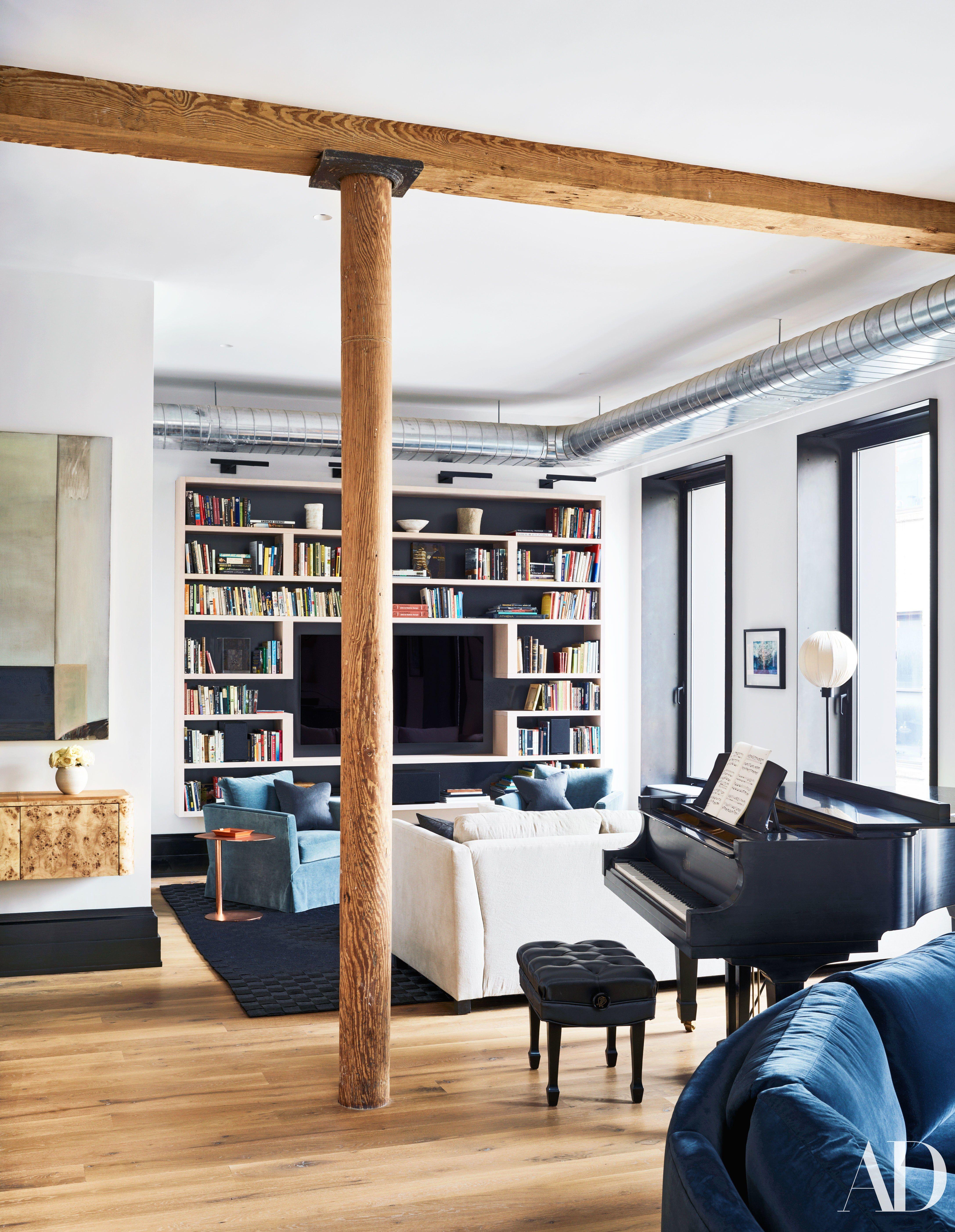 go inside liev schreiber s noho triplex bookshelf s built in rh pinterest com