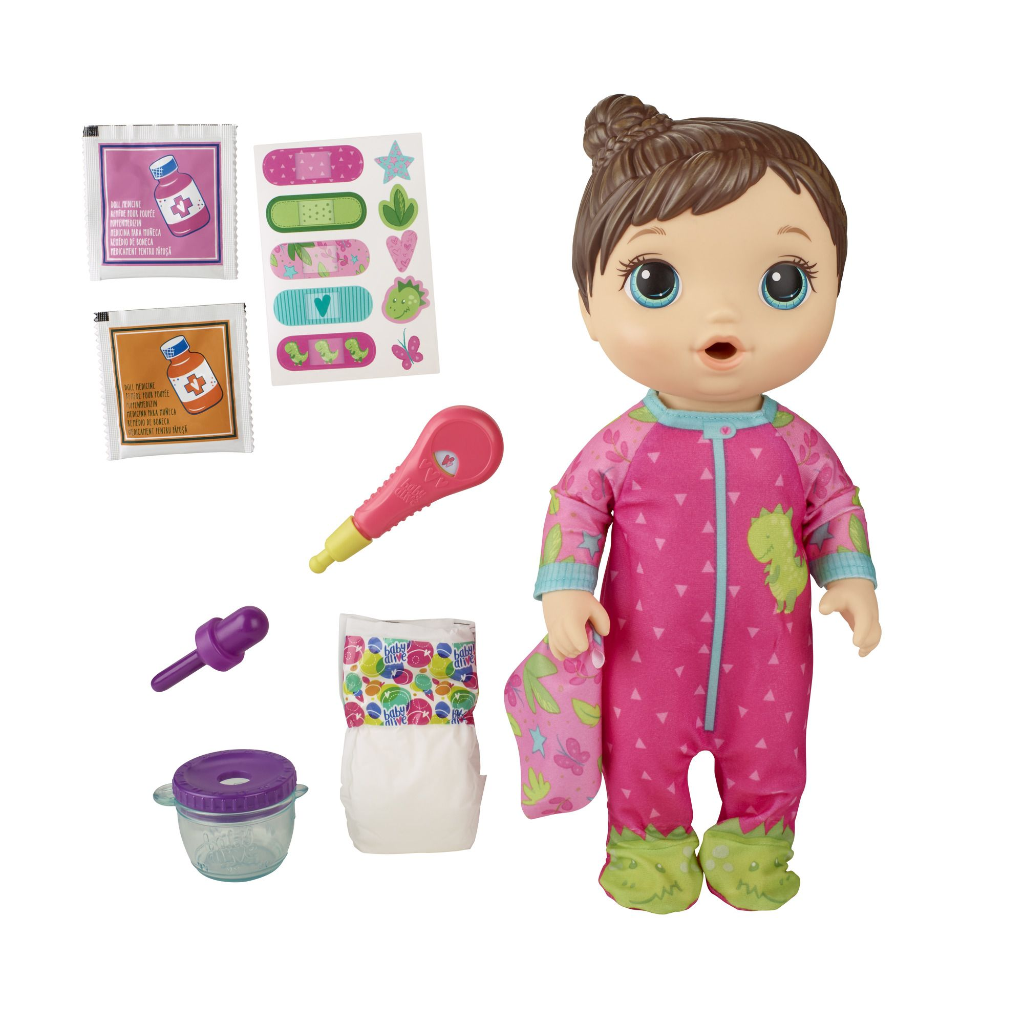 Baby Alive Mix My Medicine Doll Dinosaur Pajamas Doctor Accessories Drinks And Wets Walmart Com In 2020 Baby Alive Interactive Baby Dolls Baby Dolls