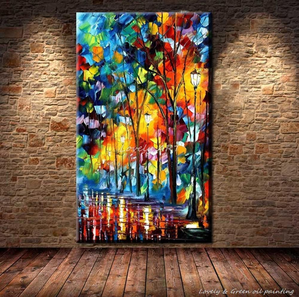 100 Hand Drawn City At Night 3 Knife Painting Modern: Schilderij Acryl Groen Bos - Google Zoeken