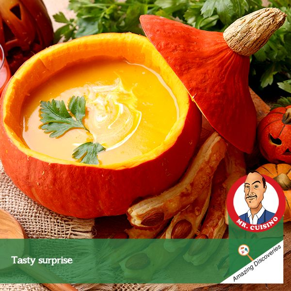 #MrCuisino #AmazingDiscoveries  Pumpkin soup in Pumpkin Like surprises? This is what I discovered for a unique theme party. Savour a time of your life with delightful treats, tasty snacks and a unique Pumpkin Soup in Pumpkin.
