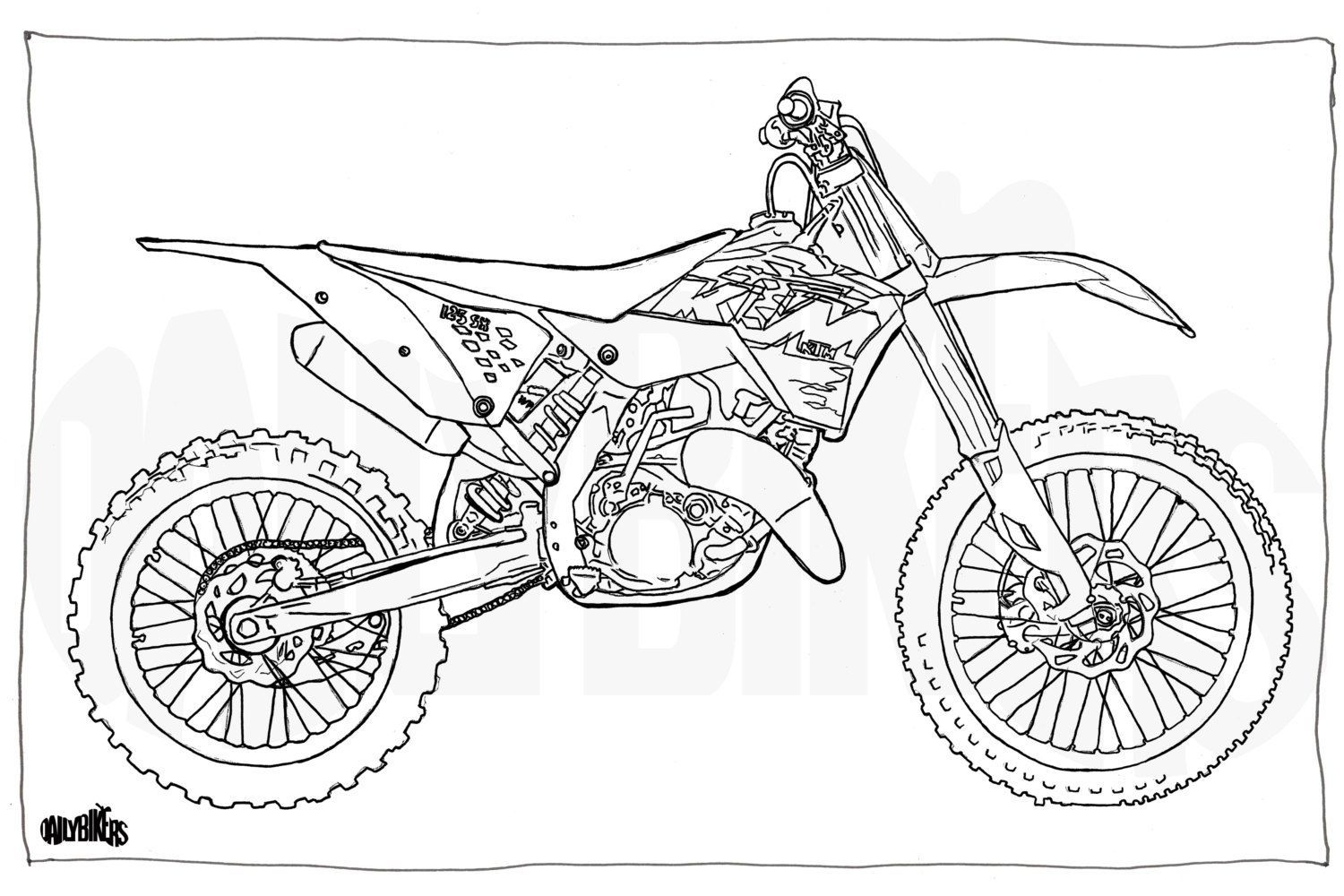 Ktm Coloring Page Coloring Pages Bike Drawing Ktm