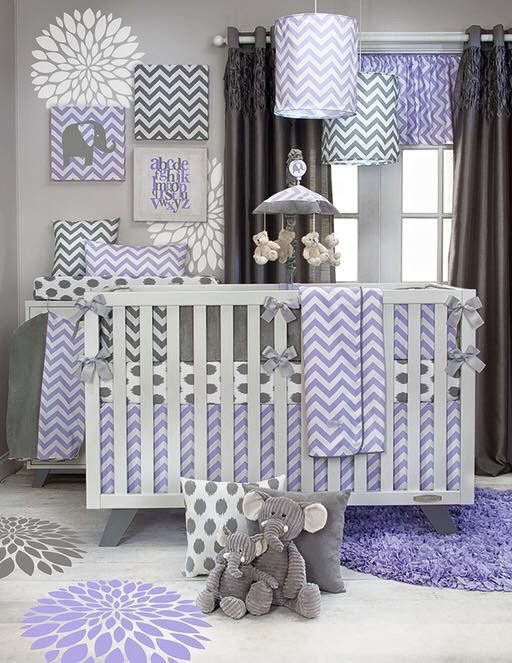 Baby Girl Nursery Room, Grey And Purple Crib Bedding