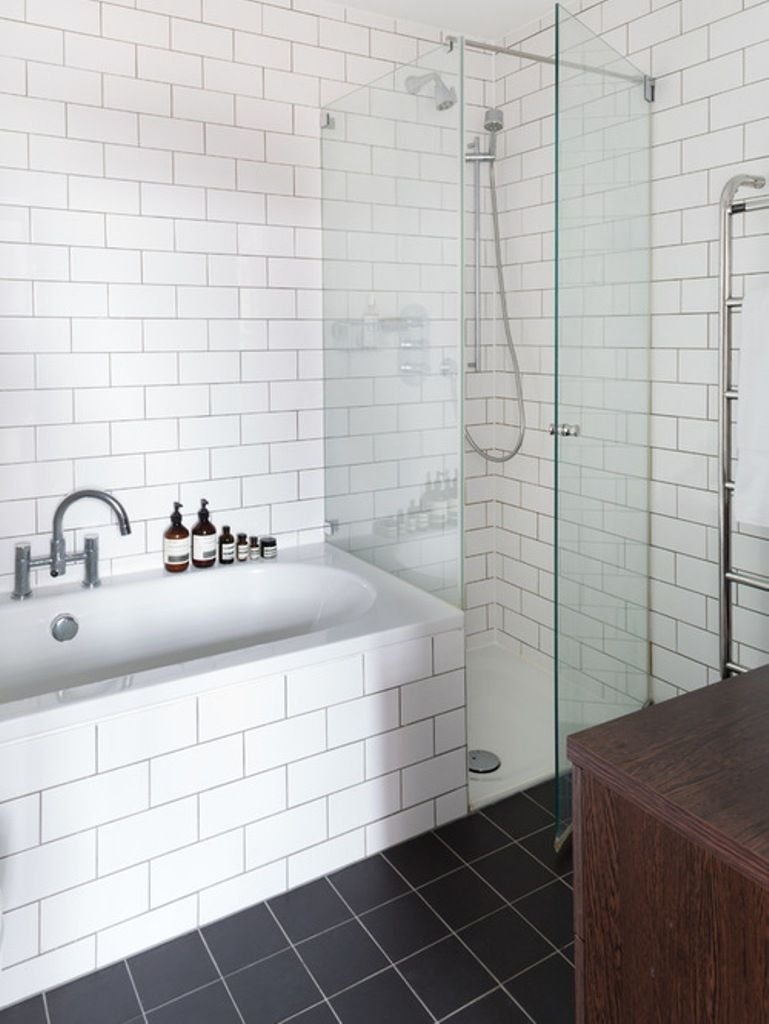White Brick Wall Tiles With Small Glass Shower For Cheap Bathroom ...