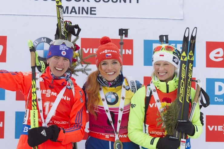 American Susan Dunklee (l) after achieving her best IBU World Cup finish in second place on Thursday and tying the best World Cup result by a U.S. biathlete. She finished second to Czech Gabriela Soukalova (c), and Poland's Krystyna Guzik placed third (r) in the 7.5 k sprint in Presque Isle, Maine. It was the first IBU World Cup held in the U.S. since 2011 in Presque Isle. (Photo: Fischer/NordicFocus)