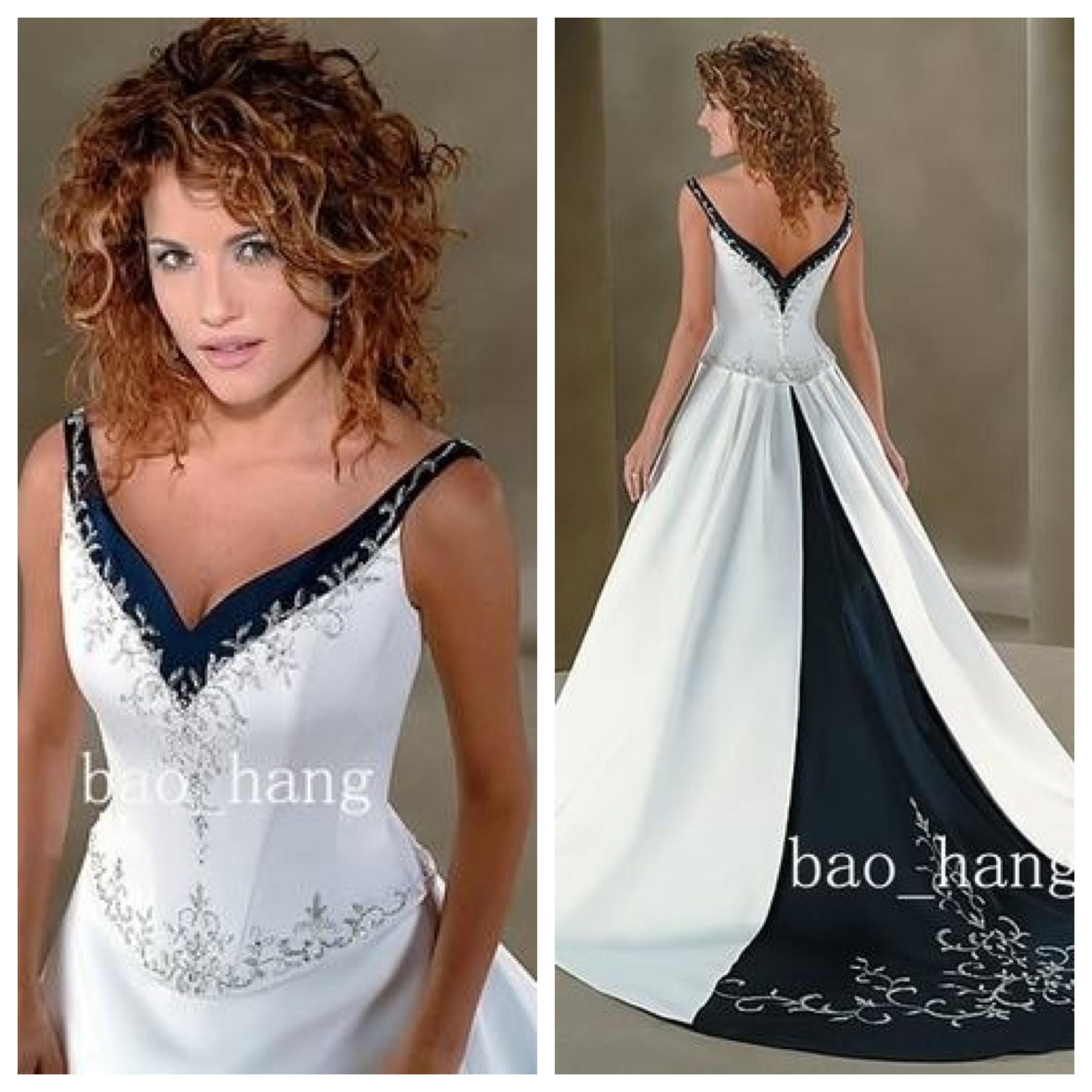 Black & White Halter Wedding Dress would look great with red or pink ...