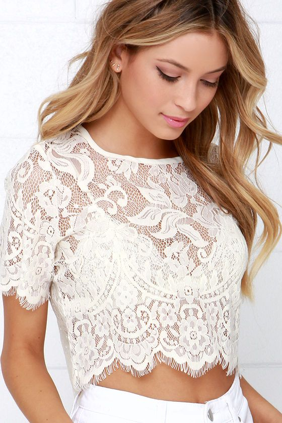 278256d913334 Glamorous Slowly but Sheerly Cream Lace Crop Top at Lulus.com!