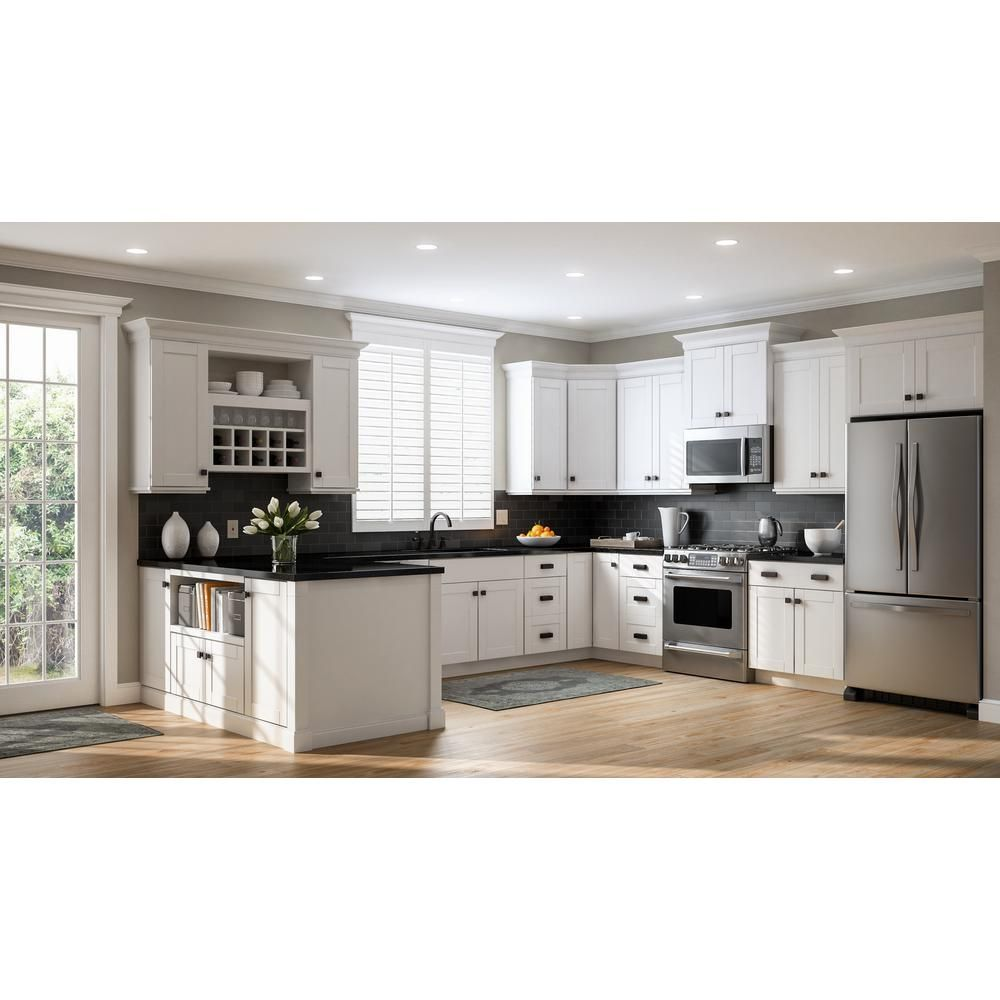 Hampton Bay Shaker Assembled 24x36x12 In Wall Kitchen Cabinet In Satin White Kw2436 Ssw The Home Depot Kitchen Remodel Small Kitchen Cabinet Design Shaker Kitchen Cabinets