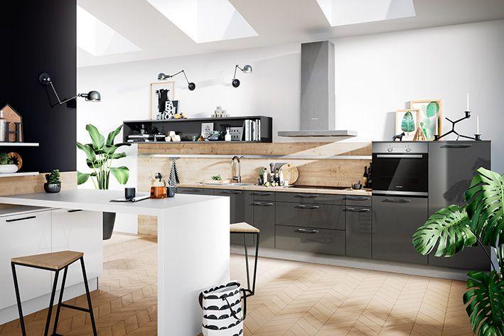 Front CRISTALL im Farbton Carbon-metallic #Küchen #Häcker #haecker ...