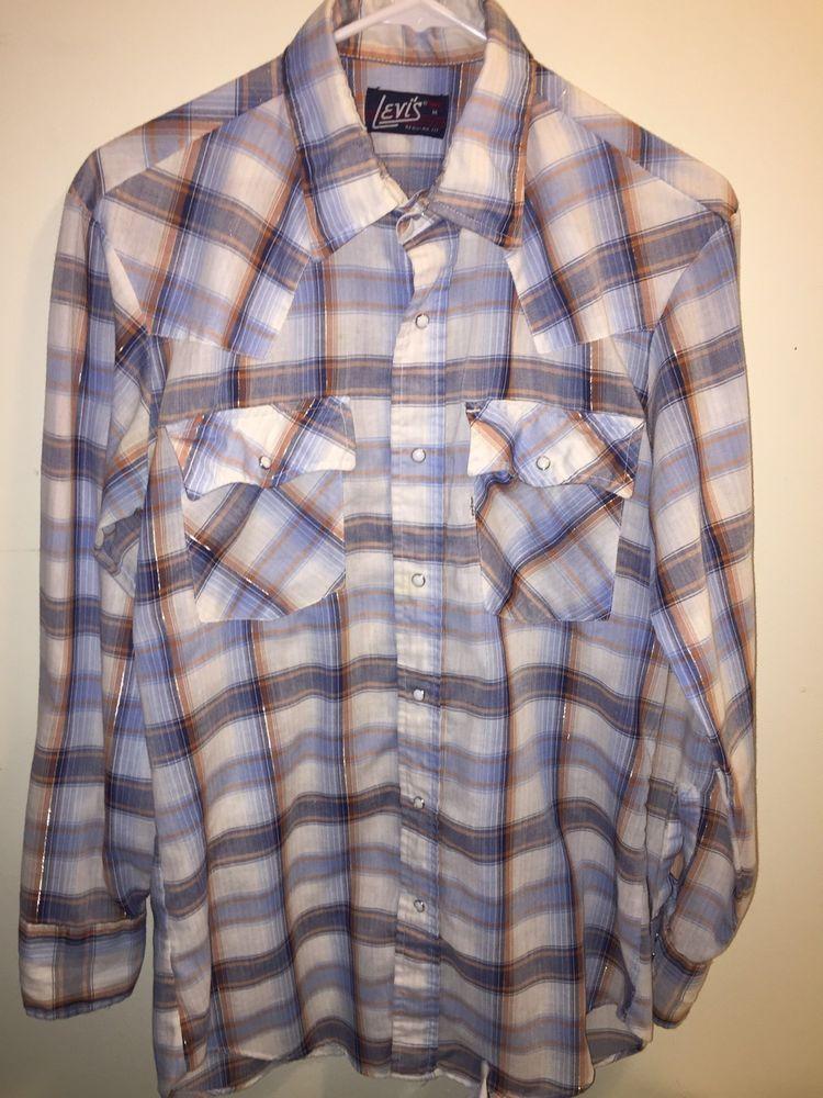 1628ae16b2 Vintage Levi s Men s Shirt Long Sleeve Button Front Pearl Snap Sz M Regular  Fit  Levis  ButtonFront