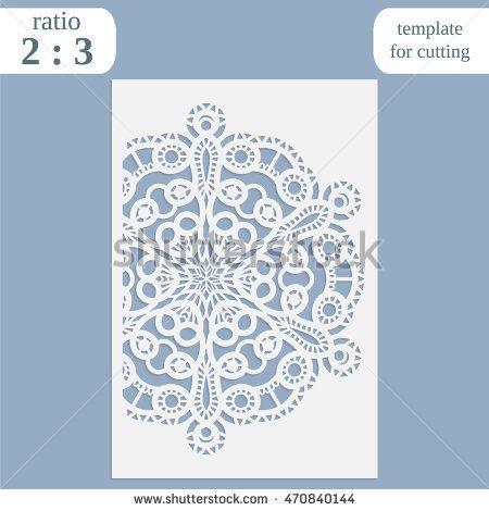 Laser cut wedding card template, paper openwork greeting card - greeting card template