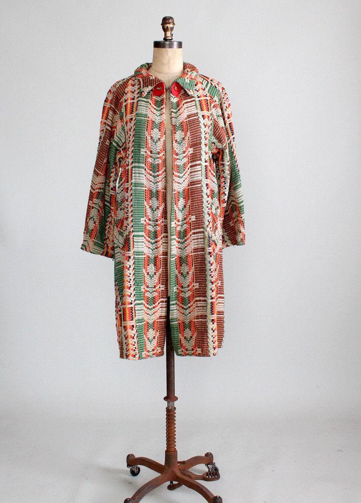 Vintage 1920s Geometric Woven Coat