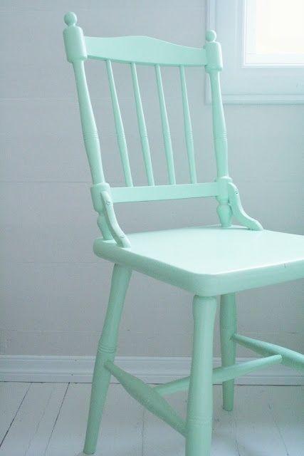Mint wooden chair