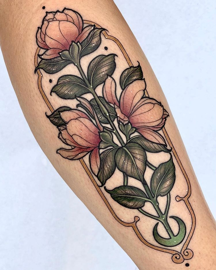"sara rosa on Instagram: ""🌛🌷🌱 N O V E A U 🍃🌷🌜 . Done at @blackship.bcn with @balm_tattoo products and @inkjecta machines ✨ . I want to do more colorful tattoos like…"""