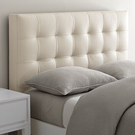 Low Leather Grid-Tufted Headboard | Simple bed frame, Tufted ...