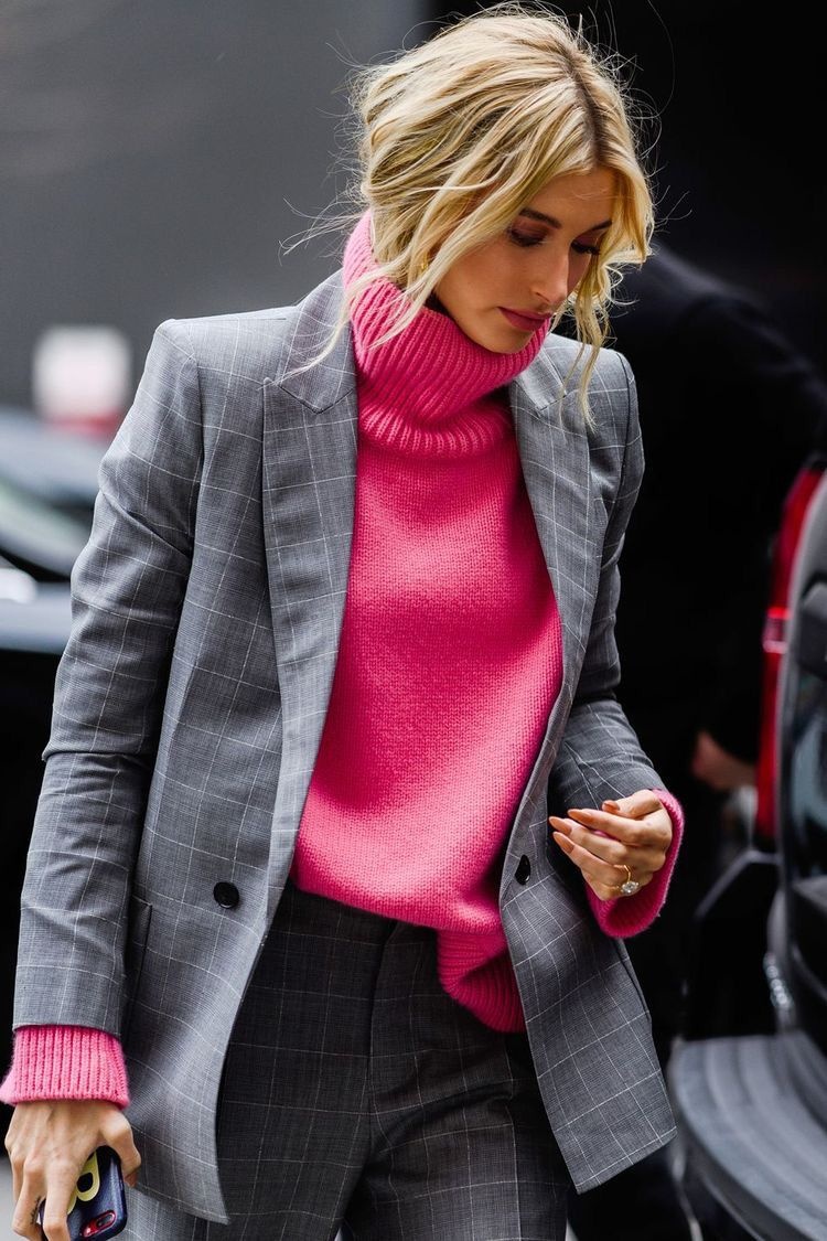Pink and grey Grey blazer pink unit fashion street style