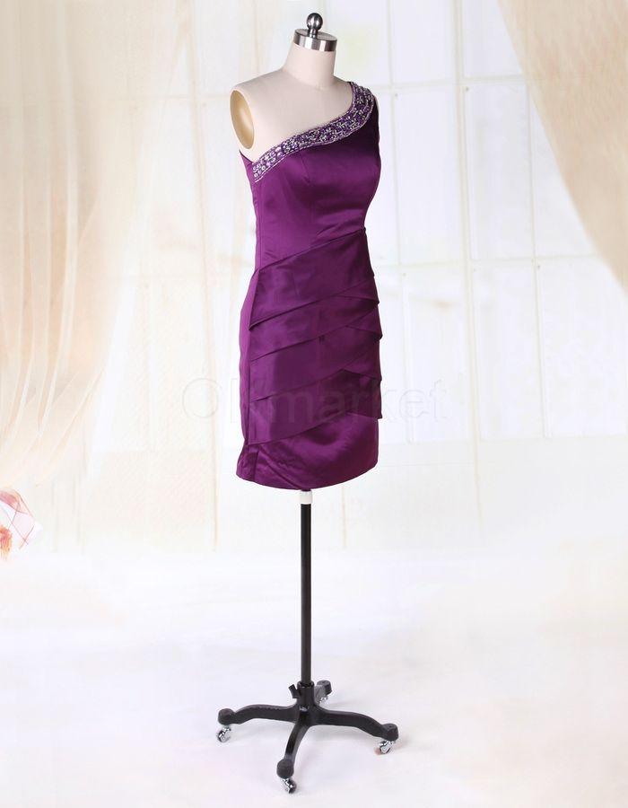 One Shoulder Purple Satin Beading Short Cocktail Party Dress ...