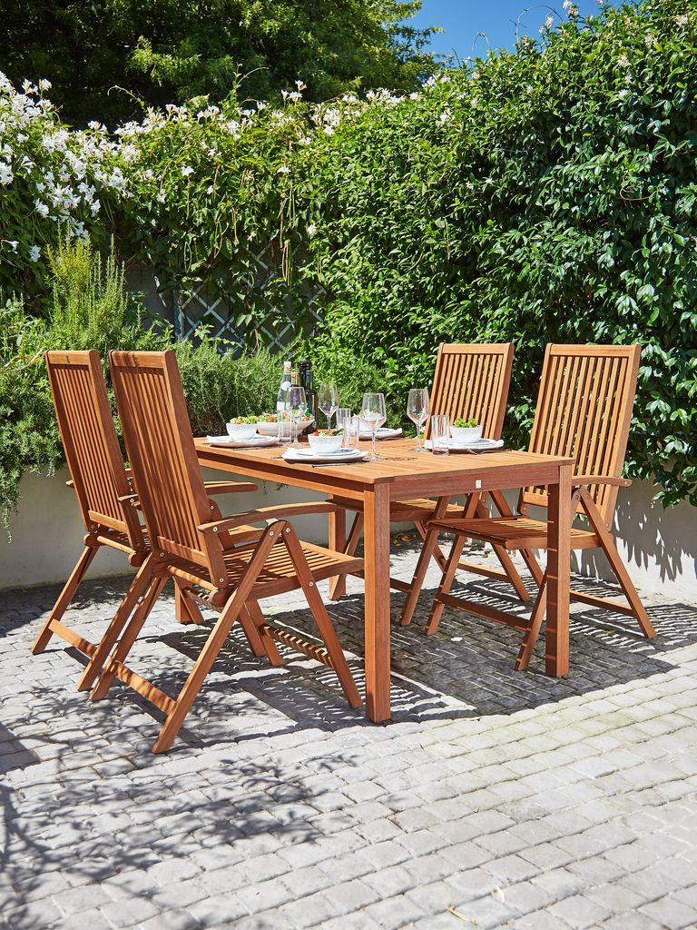 Garden Table Hamar With Four Kamstrup Reclining Chairs I D  # Jutlandia Muebles