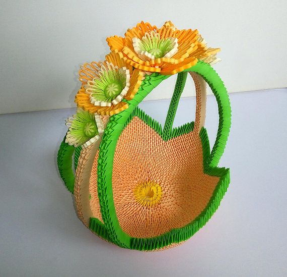 3d Origami Basket Handmade Gift For Candy And Fruits