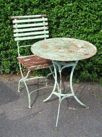 G201 Vintage French Single Folding Garden Patio Cafe Chair