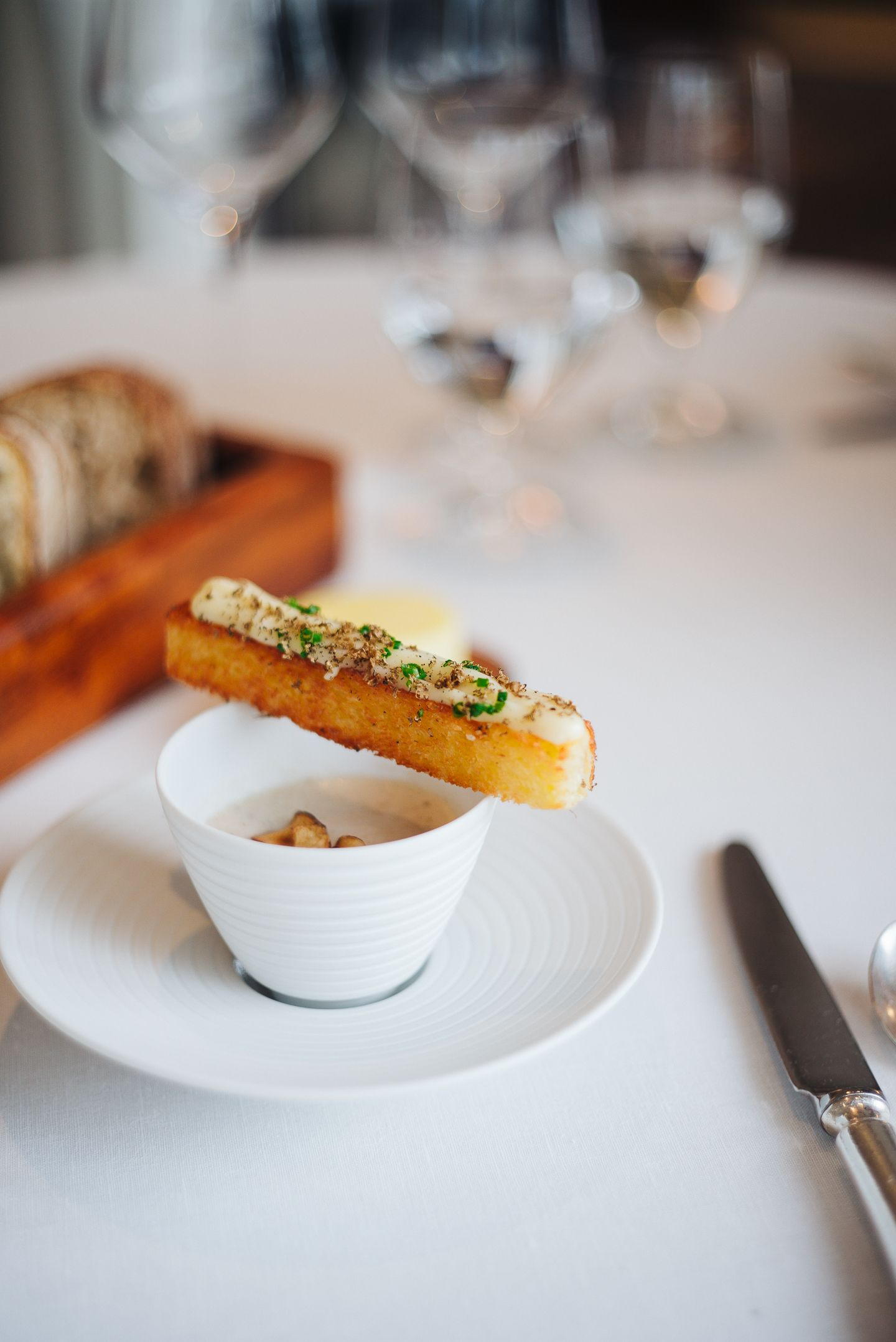 Jerusalem Artichoke Veloute With A Grilled Soldier Covered In A