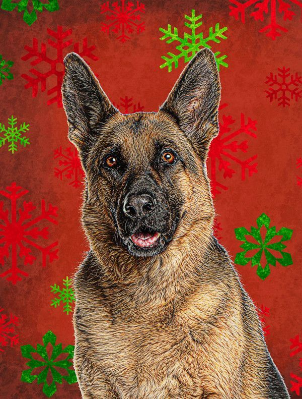 Red Snowflakes Holiday Christmas German Shepherd Flag
