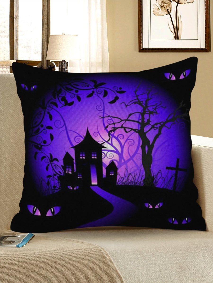 Halloween bat castle pattern decorative linen pillowcase