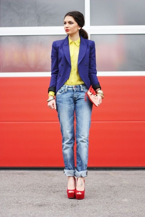 dressy color with the perfect boyfriend jeans