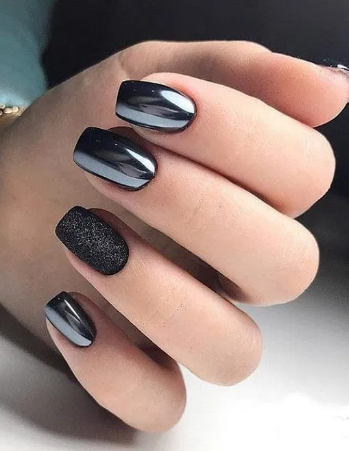 40 gorgeous black nails design for short square nails 3 | galeryhome.com